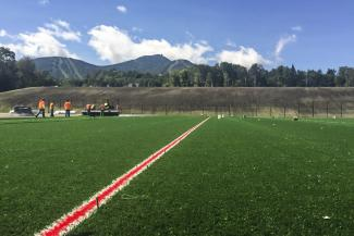 Progress on the new synthetic athletic fields, opening this October.